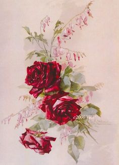 PRINT FREE SHIP Victorian Cabbage Roses and by VictorianRosePrints