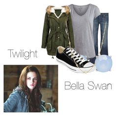 """Bella Swan- Twilight"" by twilight-vs-hunger-games-fan ❤ liked on Polyvore featuring AG Adriano Goldschmied, Pieces, Forever New, Converse and David Yurman"