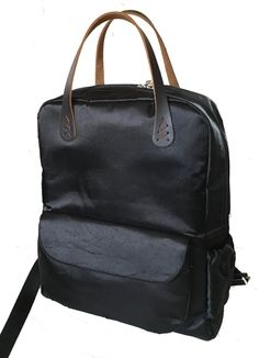 Back satin Backpack,Groomsmen gift,minimalist,city bag, leather handle,Spring,Summer,Vintage,Laptop,Personalized Gift,Yoga,School,Book bag by RosePetalsCrafts on Etsy
