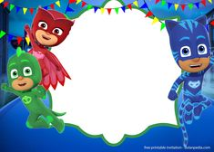 Awesome 9 FREE PJ Masks Birthday Invitation Templates