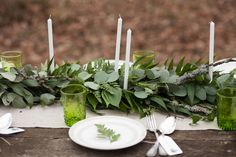 Looking elegant as a table runner, foliage can play several roles in the overall decoration of your wedding. Need more proof? Rustic Farm Table, Wedding Thank You Cards, Gift Wedding, Wedding Things, Wedding Sparklers, Make Happy, White Candles, Wedding Table Settings, A Table