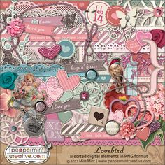 Lovebird Elements from peppermintcreative.com #wedding #valentines #scrapbooking