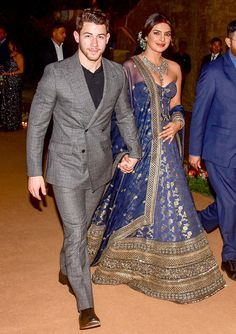 Nick Jonas, Priyanka Chopra Look in Love at Mumbai Wedding Reception Wedding Dresses Men Indian, Wedding Dress Men, Indian Dresses, Indian Outfits, Priyanka Chopra Wedding, Priyanka Chopra Hot, Indian Celebrities, Bollywood Celebrities, Bollywood Fashion