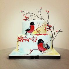 Winter redbird - by Sparklecake @ CakesDecor.com - cake decorating website