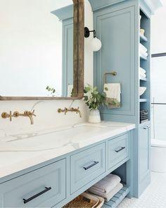 Home Decor Living Room Bathroom Inspiration // Studio McGee.Home Decor Living Room Bathroom Inspiration // Studio McGee Studio Mcgee, Beautiful Bathrooms, Modern Bathroom, Dream Bathrooms, Light Blue Bathrooms, Quirky Bathroom, Girl Bathrooms, Master Bathrooms, Minimalist Bathroom