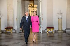 On the occasion of the diplomatic contact days, King Philippe and Queen Mathilde of Belgium met with the heads of Belgian diplomatic staff at the Royal Castle of Brussels January 26, 2016 in Belgium.