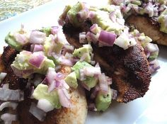 Cayenne-Rubbed Chicken with Avocado Salsa.... combination of my favorite: avacado, chicken, and spicy flavour!  Must try...