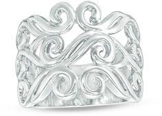 Zales Filigree Ring in Sterling Silver