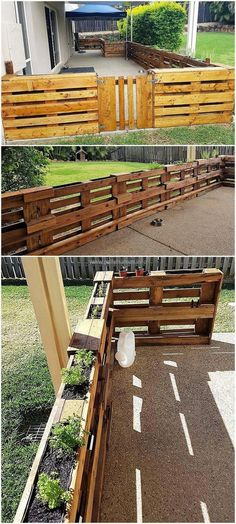 Paletten Garten recycled pallet fence recycled pallet fence # pallet fence designs for the p Diy Fence, Backyard Fences, Garden Fencing, Fence Ideas, Backyard Ideas, Fence Art, Landscaping Ideas, Patio Fence, Brick Fence