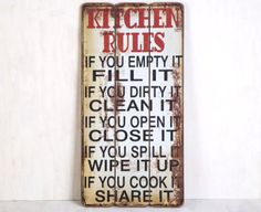 Wooden 60 x 30cm Wall Plaque - Kitchen Rules