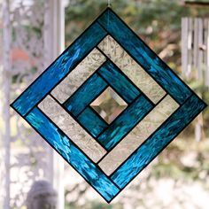 Blue Stained Glass Panel from Etsy