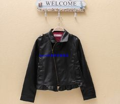 The new children's clothing leather fashion single foreign trade day 2014 children new leather PU zipper jacket of the girls on EdithJewelry.com