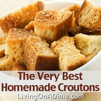 Our family's favorite! These quick and easy croutons are so tasty you will wonder why you never made homemade before! You can make these Homemade Croutons in less than 5 minutes for less than 25 cents a batch. Click here for more inexpensive #recipes your family will love in our Dining On A Dime Cookbook http://www.livingonadime.com/store/dining-on-a-dime-cookbook