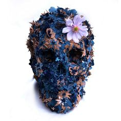 Floral Skull Leather Sculpture by Jacky Tsai