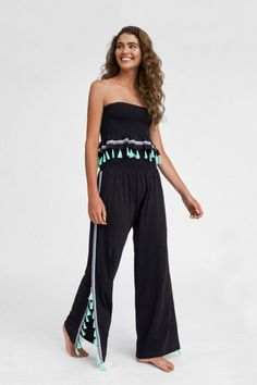 Jasmine Pants | Pitusa Summer Pants, Casual Summer Outfits, College Outfits, Black Crop Tops, Pants For Women, Bohemian, Clothes, Jasmine, Smocking