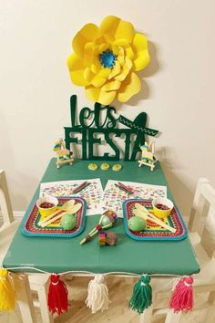 Take a look at this colorful Cinco de Mayo fiesta! The table settings are fantastic! See more party ideas and share yours at CatchMyParty.com Fiesta Cake, Fiesta Party, For Your Party, Garland, Bridal Shower, Favors, Centerpieces, Place Cards, Table Settings