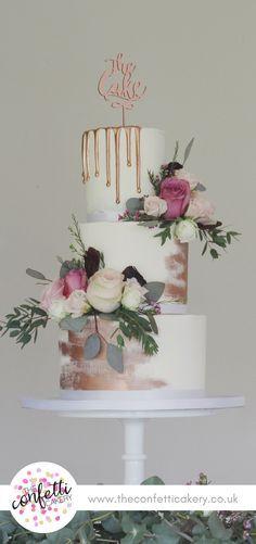 Rose gold buttercream wedding cake. Cake & Image: The Confetti Cakery.