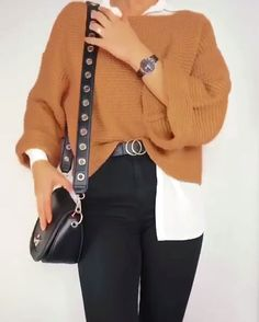 black pants white shirt camel pullover outfit ideas Source by lillyawa shirt outfit White Shirt Outfits, Outfits Casual, Outfit Jeans, Winter Fashion Outfits, Mode Outfits, Classy Outfits, Look Fashion, School Outfits, Cute Jean Outfits