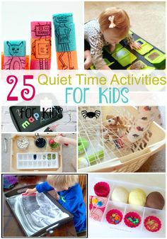 25 Quiet Time Activities.It can be hard to keep younger children busy without electronics. I was always looking for activities that would help them play independently and give me a little free time to make dinner! Here is some great activities for preschoolers and toddlers.