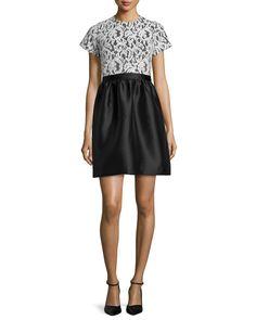 Short-Sleeve Lace-Bodice Dress, Snow/Jet - Shoshanna