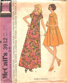 McCalls 3912 1970s Misses Muu Muu Dress Pattern Tulip by mbchills