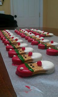Nutter Butter Santas - a great idea, so creative! For more holiday ideas, connect with us on Pinterest or visit www.myuglychristmassweater.com!