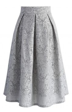 Floral Refinement Airy Pleated Skirt in Grey - Bottoms - Retro, Indie and Unique Fashion