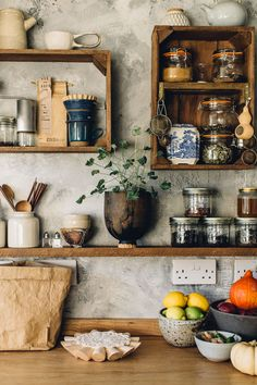 a hand-built kitchen in east sussex. / sfgirlbybay recycled crates as kitchen shelves. /sfgirlbybay a hand-built kitchen in east sussex. / sfgirlbybay recycled crates as kitchen shelves. Rustic Kitchen Design, Interior Design Kitchen, Vintage Kitchen, Vintage Room, Kitchen Designs, Bohemian Interior Design, Rustic Design, Wood Design, Bohemian Decor