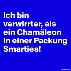 Ich bin verwirrter, als ein Chamäleon in einer Packung Smarties! - Post by Barbie on Boldomatic