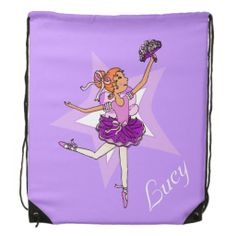 Kids ballet ballerina purple name drawstring bag. Art and designed by www.sarahtrett.com