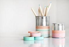Foto: Washi tape om blikje - pennenbak / bewaarblikje maken. Geplaatst door BrendaB op Welke.nl