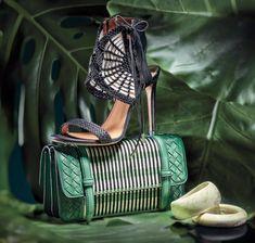 "Oasis sandal, Aquazzura ($1,100). Intermix, see above. Kelly graphic shoulder bag, <a href=""http://bottegaveneta.com"" target=""_blank"">Bottega Veneta</a> ($2,500). Bal Harbour Shops, 305-864-6247. Resin bangles, Missoni ($300 each). Intermix, see above."