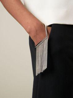 Maison Margiela fringed bracelet (With images) Contemporary Jewellery, Modern Jewelry, Jewelry Art, Jewelry Bracelets, Fashion Jewelry, Tassel Bracelet, Bangle, Jewlery, Silver Jewelry