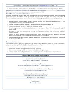 chief financial officer resume sample senior finance executive page 2