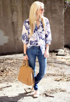 Women fashion style clothing outfit brown handbag blue jeans floral top shirts sunglasses shoes white summer casual street