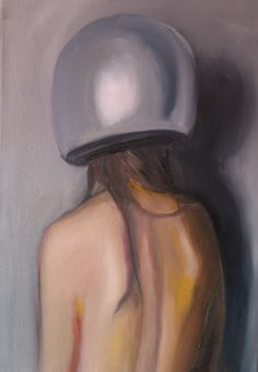 Adrienn Erdei - Portrait in helmet II., oil on canvas, 50x70 cm, 2017.