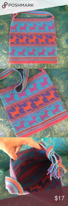 """Hand woven boho bag, Charm sold separately Handwoven bag bought in Peru. Like-new condition.  12""""wide by 11""""tall. Strap can be shoulder or cross body. There are normal inconsistencies in the color due to the handmade nature of this item. Brand new!  Strap is 38"""" long. Smoke free home and always happy to consider reasonable offers! Thank you! Bags Crossbody Bags"""