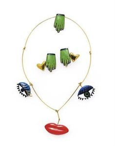 Niki de Saint Phalle enamel and gold necklace and cufflinks