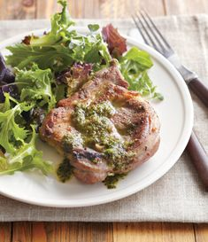 Mint and lamb are traditional in spring. Here they are combined in an unusual and delicious way, with an Italian-style salsa verde. Serve with steamed potatoes and asparagus, which are also delight...