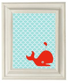 Digital Download No. 187 Fun Whale Art Print by OliveRuePress, $1.00