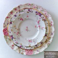 I love the look of mismatched china dishes these days!