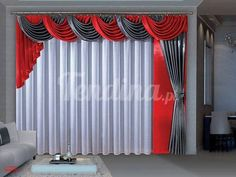 Curtains-combination of dark gray,red and white fabric Curtains With Blinds, Home Curtains, Curtains Living Room, Home, Window Decor, Stylish Curtains, Drapes Curtains, Elegant Draperies, Curtain Decor