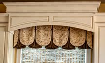 Kitchen valance woven wood blinds embroidered fabric contrast pleats button detail kitchen sink window treatment