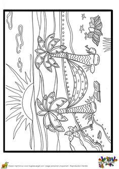 A colorier, le dessin de l'hamac entre les cocotiers sous un beau soleil