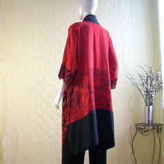 162 € Silk Kimono Jacket/Bohemian Jacket/Silky Red and by Brendaabdullah
