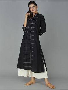 Black Cotton Kurta with palazzos Kurta Designs Women, Kurti Neck Designs, Dress Neck Designs, Designs For Dresses, Indian Fashion, Boho Fashion, Fashion Dresses, Indian Attire, Indian Ethnic Wear