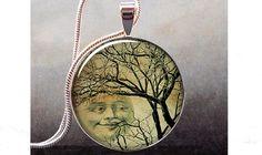 Smiling Moon Tree art pendant charm, tree resin pendant, moon necklace pendant, moon jewelry via Etsy