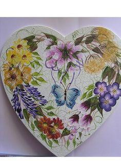 ONE STROKE FLORAL WREATH WOODEN HEART by Jade Scarlett, via Flickr