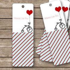 "Printable Valentine's Bookmarks - 2""x6""- I Wheelie Like You"