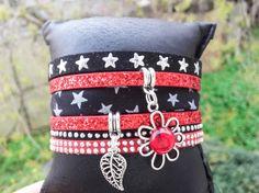 """Bracelet Manchette """"Beverly"""" Liberty authentique rouge et noir pailleté Swarovski multi liens pour femme fantaisie : Bracelet par libertylily"""